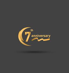 7 years anniversary logotype with double swoosh vector