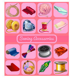 a set of accessories for sewing sketch for vector image