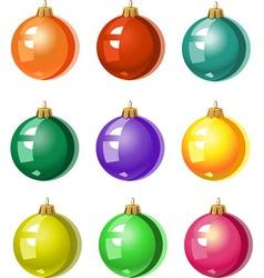 A set of Christmas tree ornaments colored balls vector