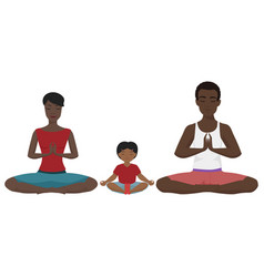 African american family yoga vector
