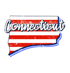 american flag in connecticut state map grunge vector image
