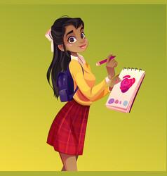 Artist girl paint flower young woman painter vector