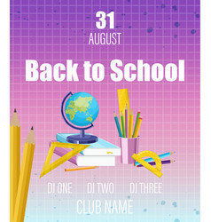 back to school poster flat style school vector image