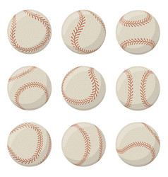 baseball sport game ball with red lace stitches vector image
