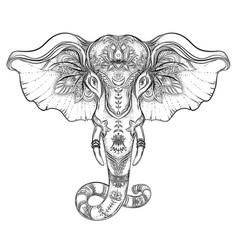 beautiful hand-drawn tribal style elephant vector image
