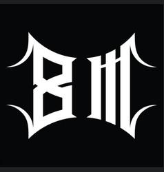 Bm logo monogram with abstract shape design vector
