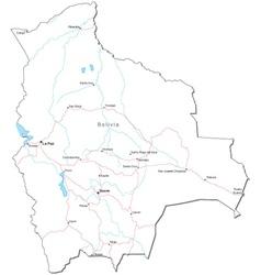 Bolivia Black White Map vector image
