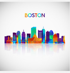Boston skyline silhouette in colorful geometric vector