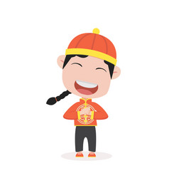 boy in chinese children costume vector image