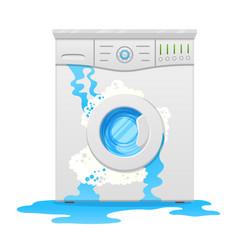 Broken washing machine household appliance defect vector