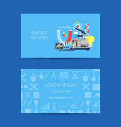 Business card for science lab with flat vector