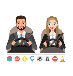 businessman and businesswoman driving a car vector image