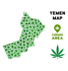 Cannabis collage yemen map vector
