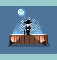 cartoon little boy wearing suit and black top hat vector image
