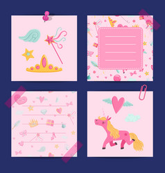 cartoon magic and fairytale notes template vector image