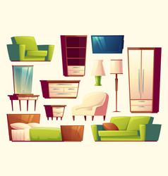 Cartoon set of furniture - sofa bed vector