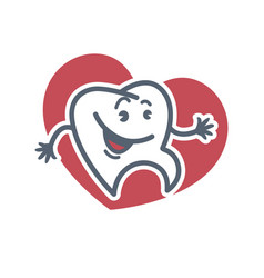 Cartoon tooth logo template for child dentistry or vector