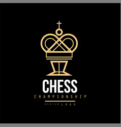 Chess championship logo emblem with king chess vector