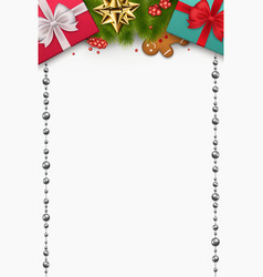 christmas composition with new years gifts pine vector image