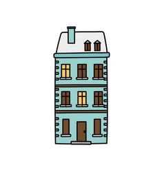 Classic building private facade icon vector