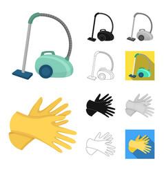 Cleaning and maid cartoonblackflatmonochrome vector