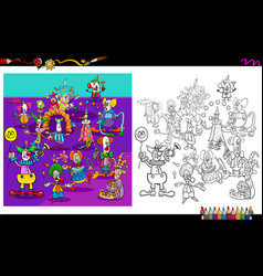 clown characters group coloring book vector image
