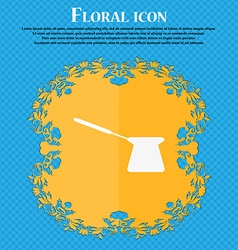 Coffee turk icon Floral flat design on a blue vector image