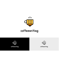 Coffee writing with pencil logo vector