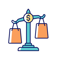 Comparison shopping rgb color icon vector