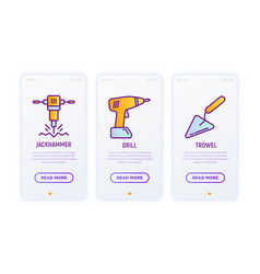 construction thin line icons set drill trowel vector image