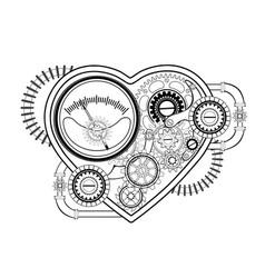 contour mechanical heart vector image