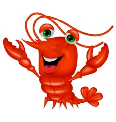 Cute lobster cartoon presenting vector