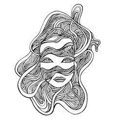 cyborg girl face in wires fantastic cyberbank vector image
