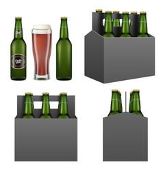 Dark beer pack mockup set isolated vector