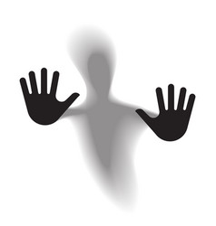 Diffused silhouette body through frosted glass vector