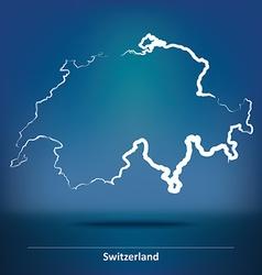 Doodle Map of Switzerland vector