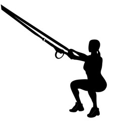 Female sillhouette doing deep squats trx vector