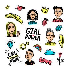 Feminist sticker set feminist cute hand drawing vector