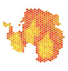 Fire hexagon antarctica map vector