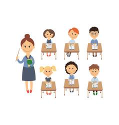 Flat children sitting at desk teacher set vector