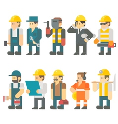 Flat design of construction worker set vector image