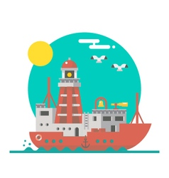 Flat design of lightship sailing vector image