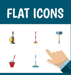 flat icon broomstick set of cleaning bucket vector image