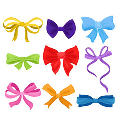 flat set of different bows made of colorful vector image