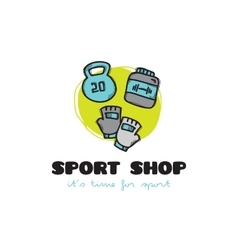 funny cartoon style sport equipment shop vector image