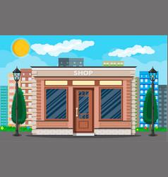 Generic shop exterior on city street vector