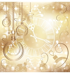 gold Christmas background with clock vector image