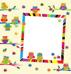 greeting card with cartoon owls and frame vector image