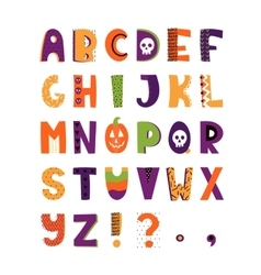 Halloween hand drawn colorful alphabet vector image