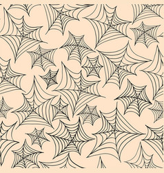 halloween seamless pattern with spider web beige vector image